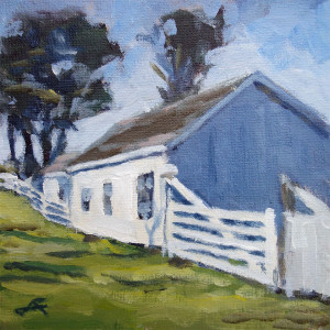"""Fence Barn"" Acrylic on Panel, 6x6 inches, 2015"
