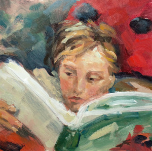 j farnsworth painting of girl reading