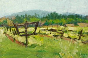 """Spring Comes to the Vineyard"" Acrylic on Panel, 6 x 4 inches, 2013"