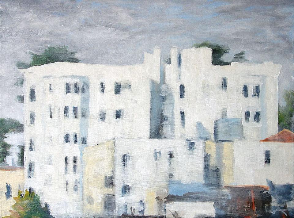 """Castle White""<br/> Acrylic on Canvas,14 x 18 inches, 2014 <span class=""zorn"">AZ</span>"