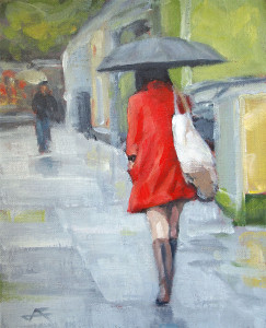 j farnsworth painting of woman walknig in the rain