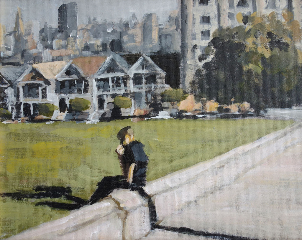 """""""Lunch at Alamo Square""""<br/>Acrylic on Panel, 2013<br/>11x14 inches"""