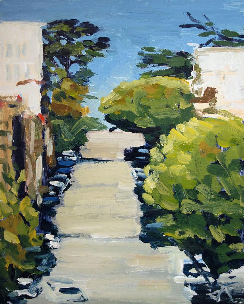 j farnsworth painting of san francisco hills