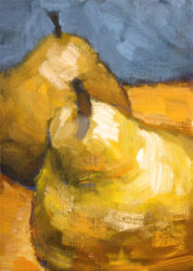 j farnsworth acrylic painting of pears