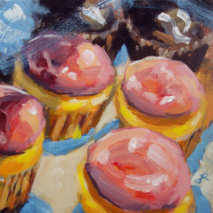 j farnsworth acrylic painting of cupcakes