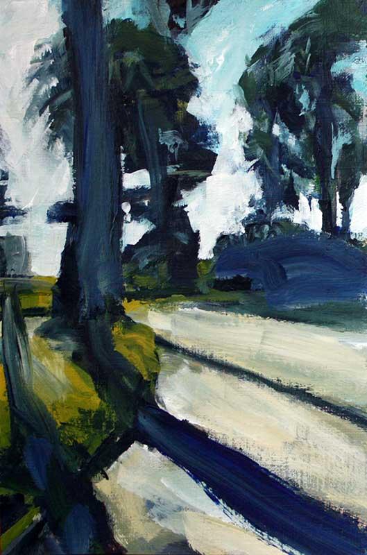 """Alamo Shadows""<br/> Acrylic on Panel, 8 x10  inches, 2009"