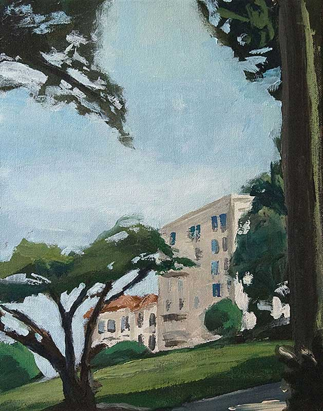 """Alamo Square""<br/> Acrylic on Panel, 8 x 10 inches, 2008"