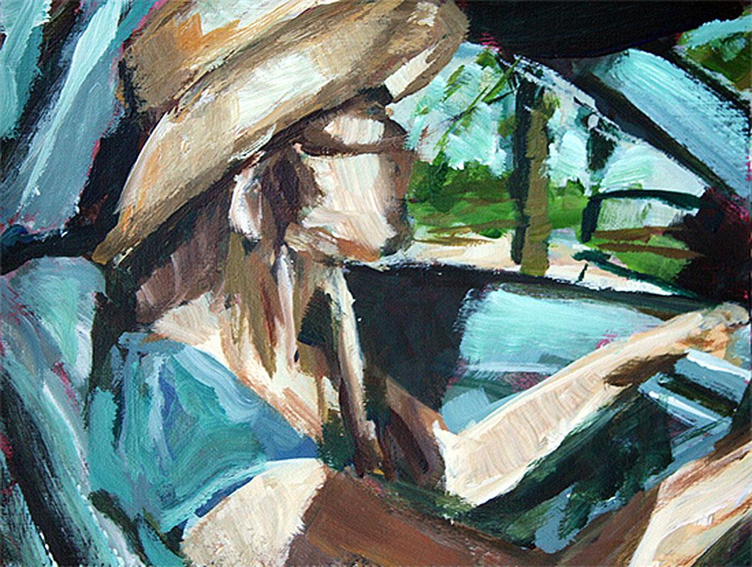 j farnsworth painting of woman driving