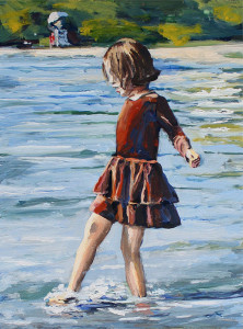 j farnsworth painting of girl at the lake