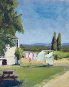 original painting by j farnsworth of washing hanging out to dry