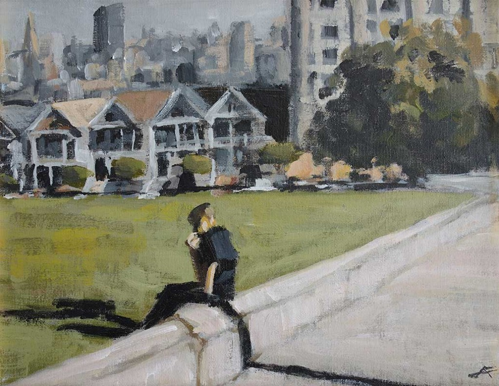 j farnsworth painting of figure at the park