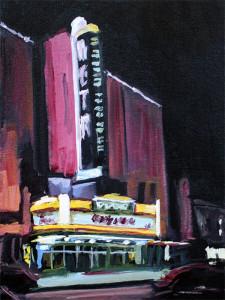 j farnsworth painting of movie theater