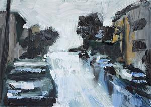 j farnsworth painting of rainy night street
