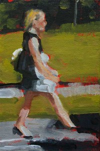 j farnsworth painting of a woman walking