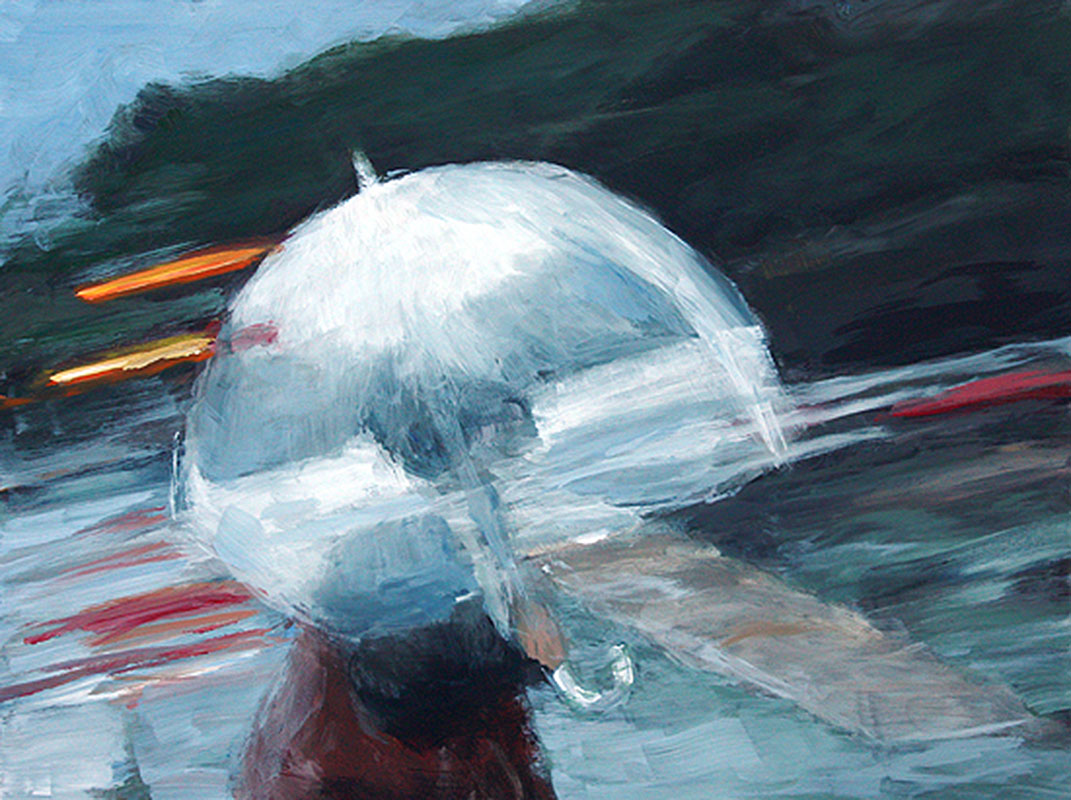 j farnsworth painting of woman walking in the rain