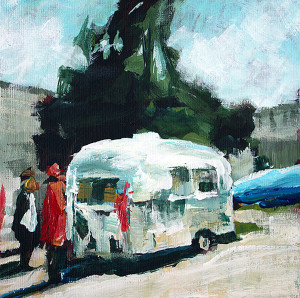 original painting by j farnsworth of a airstream trailer