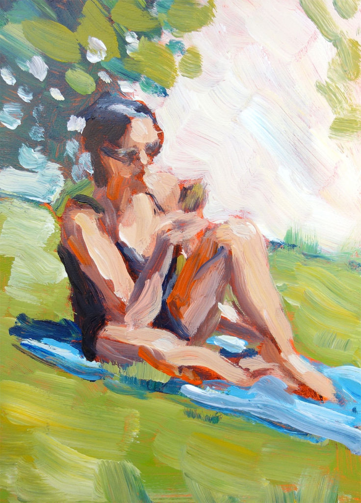 """Sun Bather""</br> acrylic on panel</br> 5x7 inches, 2017</br> $140</br> Please enter a correct button type"