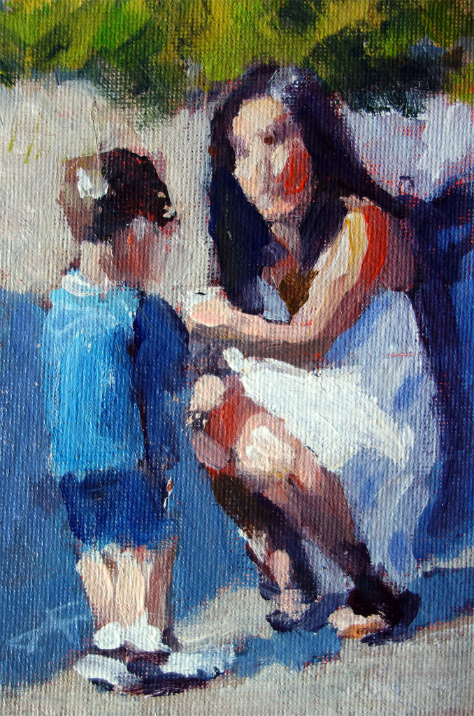 """Blue Boy""</br> acrylic on panel</br> 4x6 inches, 2017</br> $140</br> Please enter a correct button type"