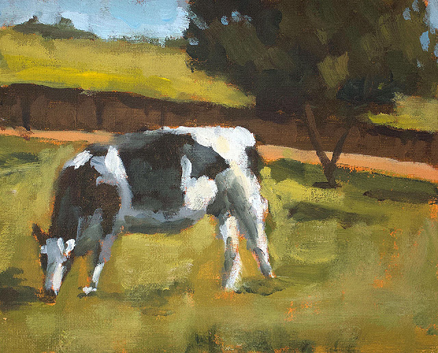 """Cow""<br/> Acrylic on panel<br/> 8x10 inches, 2019<br/> $200"