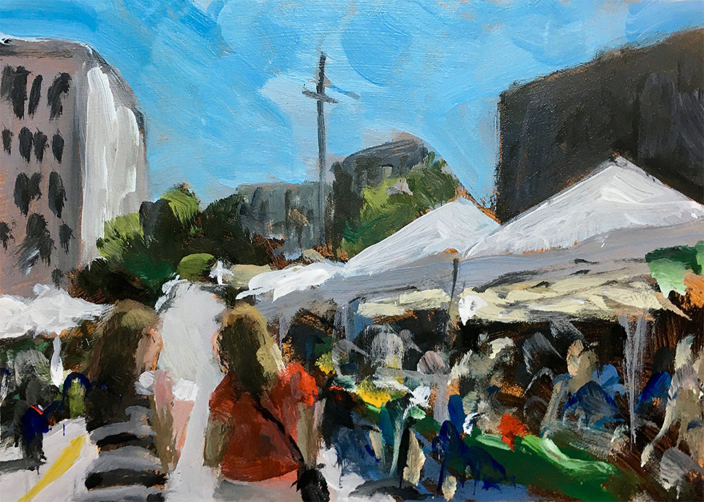 """Farners Market""</br> Acrylic on panel</br> 5x7 inches, 2020</br> $140</br> Please enter a correct button type"