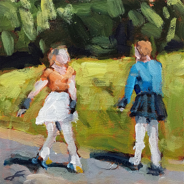 """Skaters""</br> acrylic on panel</br> 6x6 inches, 2020</br> $140</br> Please enter a correct button type"