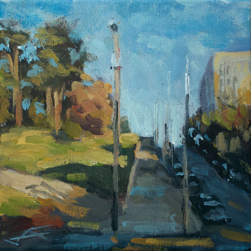 """Hayes HIll""• SOLD</br> acrylic on canvas</br> 8x8 inches, 2020</br>"